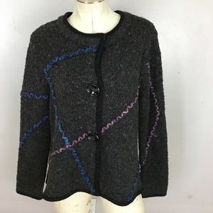 Laura Ashley Cardigan 3D Artsy Wool Petite Large
